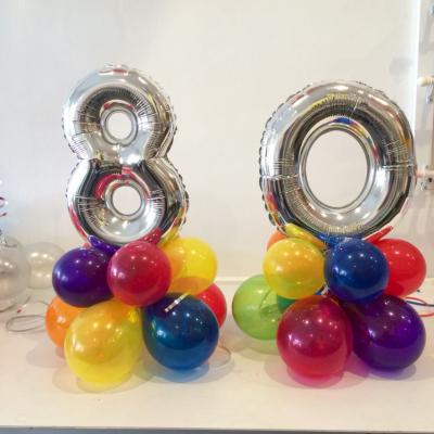 Table Posie Air Filled Plain Colour Balloon with Small Number Foil Balloon