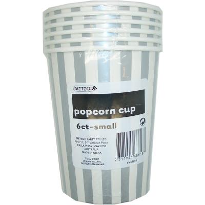 Stripes Silver Popcorn Cups Small 6PK