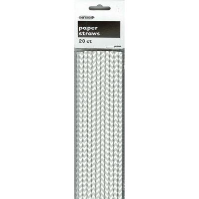 Chevron Paper Straws Silver 20PK
