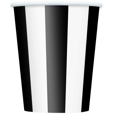 Stripes Black Cups 6PK