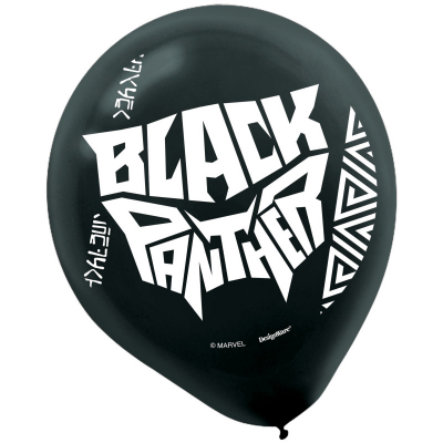 Black Panther 30cm Latex Balloons 6PK