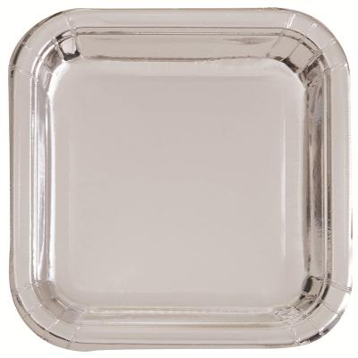 Metallic Silver Foil 18cm Paper Square Plates 8PK