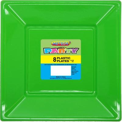 Square Plastic Plates 18cm Lime Green 8PK
