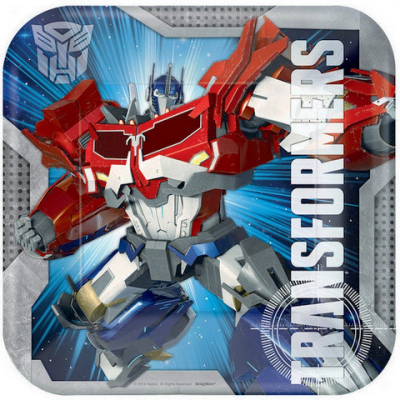 Transformers Core 23cm Square Plates 8PK