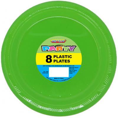 Plastic Around Plates 23cm Lime Green 8PK