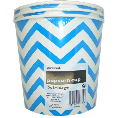 Chevron Popcorn Cups Large Royal Blue 3PK