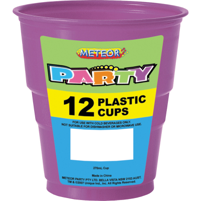 Plastic Cups 270ml Purple 12PK