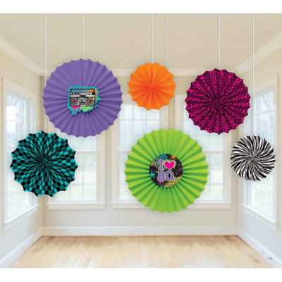 Totally 80s Paper Fan Decorations 6PK