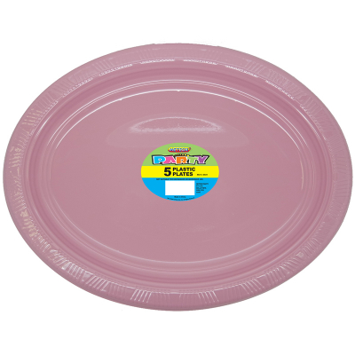 Oval Plastic Plates Pastel Pink 5PK