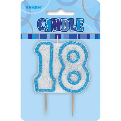 Glitz Birthday Blue Numeral Candle 18th