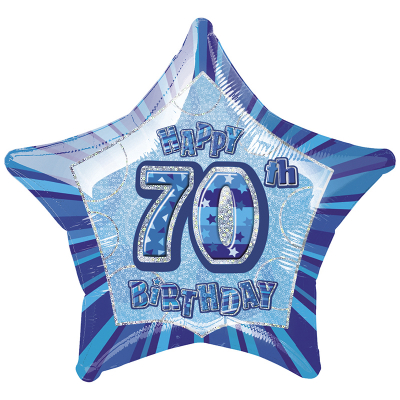 Glitz Birthday Blue Star Foil Balloon 70th