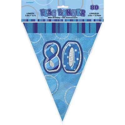 Glitz Birthday Blue Flag Banner 80th