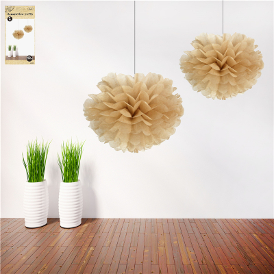 40cm Natural Decorative Puff 2PK