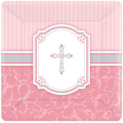 Blessings Pink 17cm Square Plate 8PK