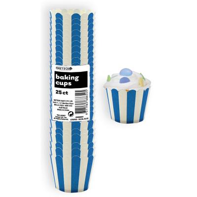 Stripes Royal Blue Baking Cups 25PK