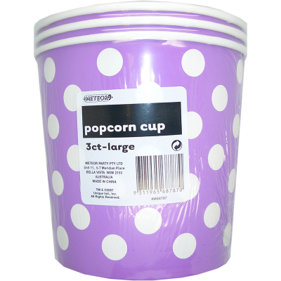Polka Dots Popcorn Cups Large Pretty Purple 3PK