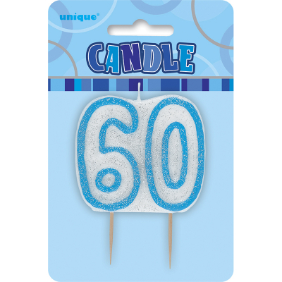 Glitz Birthday Blue Numeral Candle 60th