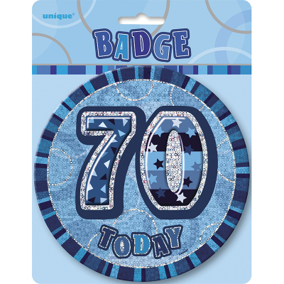 Glitz Birthday Blue Badge 70th