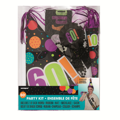 Birthday Day Party Kit 60th Inc Horn Ribbon Hat Necklace Sash 5PK