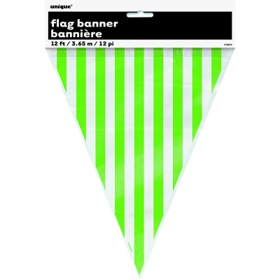 Stripes Flag Banner Lime Green 12PK