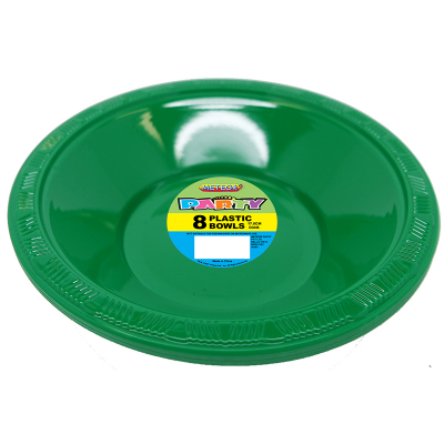 Plastic Bowls 18cm Dark Green 8PK