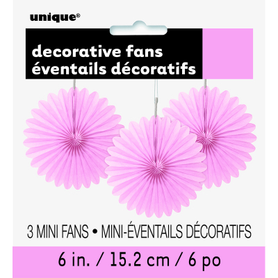 Hanging Decorative Fan 15cm Pastel Pink 3PK