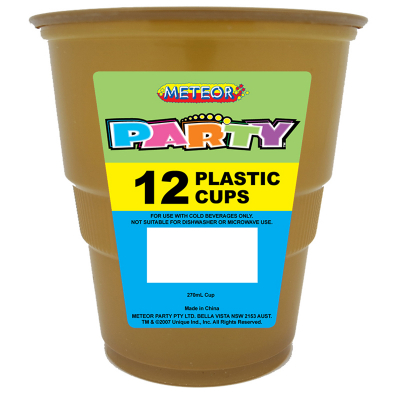 Plastic Cups 270ml Gold 12PK