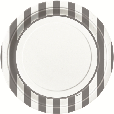 Stripes Silver 23cm Plates 8PK