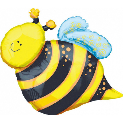 Supershape Happy Bee Foil Balloon Inflated with Helium
