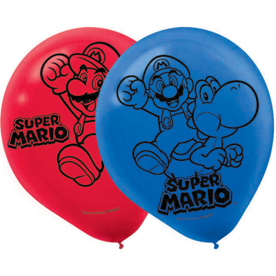 Super Mario Brothers 30cm Latex Balloons 6PK
