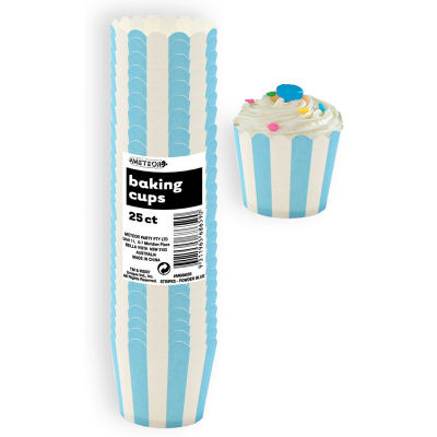 Stripes Pastel Blue Baking Cup 25PK