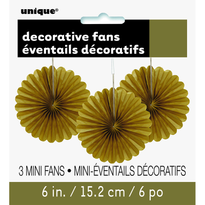 Hanging Decorative Fan 15cm Gold 3PK