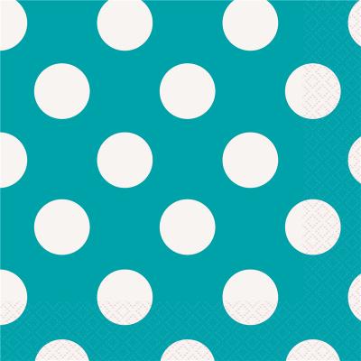 Polka Dots Luncheon Napkins Caribbean Teal 16PK