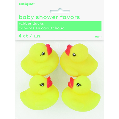 Baby Shower Rubber Yellow Ducks 4PK