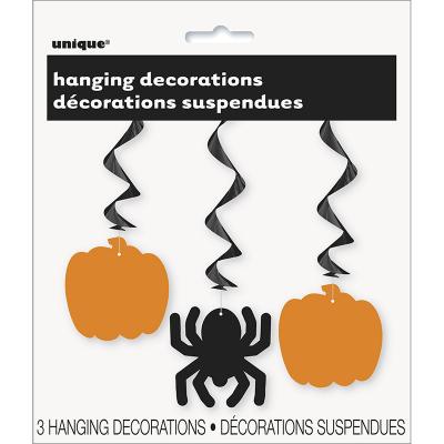 Hanging Swirls Spider Pumpkin 3PK