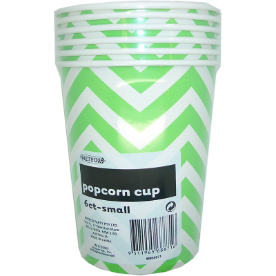 Chevron Popcorn Cups Small Green 6PK