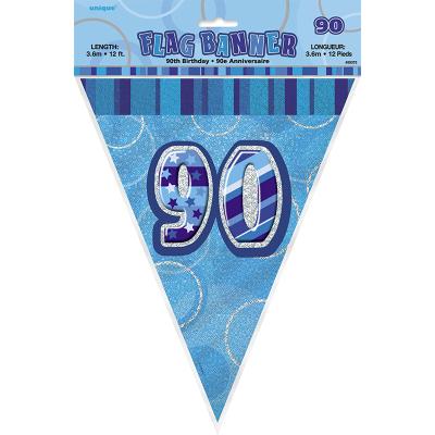 Glitz Birthday Blue Flag Banner 90th