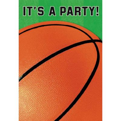 Basketball Fan Folded Invitations 8PK