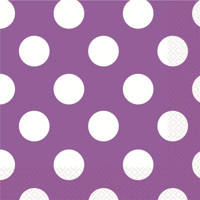 Polka Dots Beverage Napkins Pretty Purple 16PK