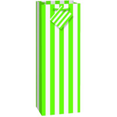Stripes Lime Green Wine Bag