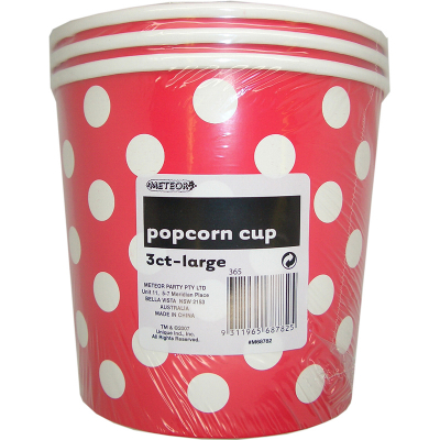 Polka Dots Popcorn Cups Large Ruby Red 3PK