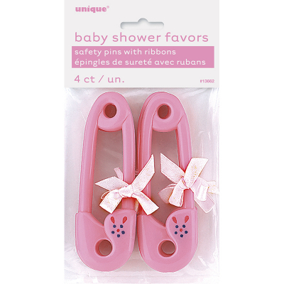 Ribbon Baby Pins Ribbon Pink 4PK