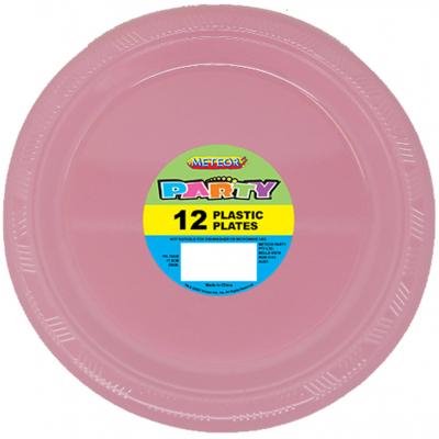 Plastic Around Plates 18cm Pastel Pink 12PK