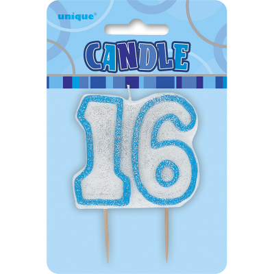Glitz Birthday Blue Numeral Candle 16th