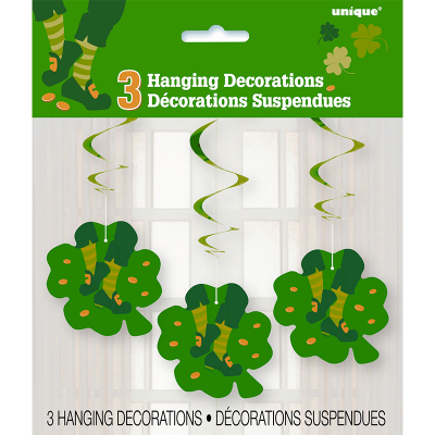 St Patrick's Day Jig Swirl Decorations 3PK