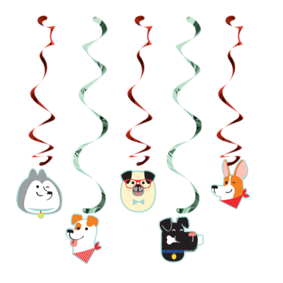 Dog Party Dizzy Danglers Hanging Swirls 5PK