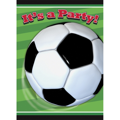 3D Soccer Invitations & Envelops 8PK