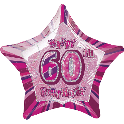 Glitz Birthday Pink Star Foil Balloon 60th