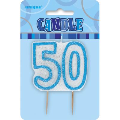 Glitz Birthday Blue Numeral Candle 50th