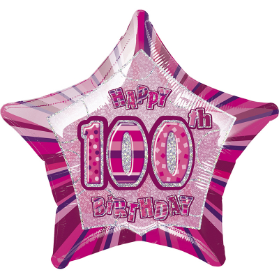 Glitz Birthday Pink Star Foil Balloon 100th